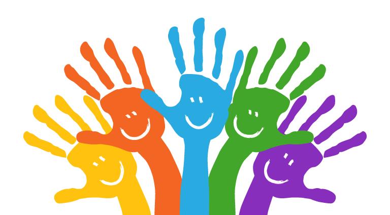 Grafik: fünf farbige Hände